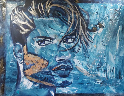 What's on a man's cheek? Acryl op 3D Alu-linnen 140 x 120 cm. Prijs op aanvraag.