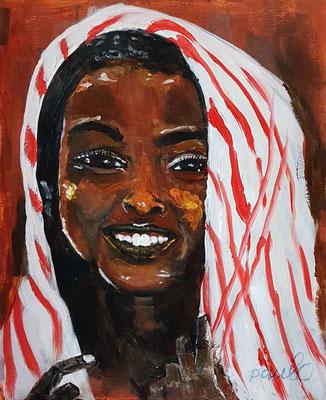 'Happy as a child' II Acryl op papier 40 x 50 cm Geinspireerd op de herfstkleuren van de Echinacea , een paddestoel en de spontane smile van afrikaanse kinderen uit Ethiopie en Namibie. Prijs per stuk € 750,--