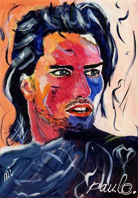 Tom Cruise, MI, held in het onmogelijke, acryl op papier 70 x 50 cm.