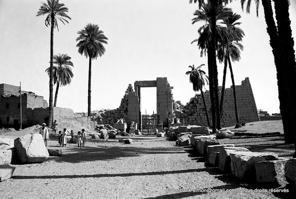 [NB070-1973-36] Karnak - Propylées du Sud : Dromos extérieur de la Porte du pylône X (face Sud)