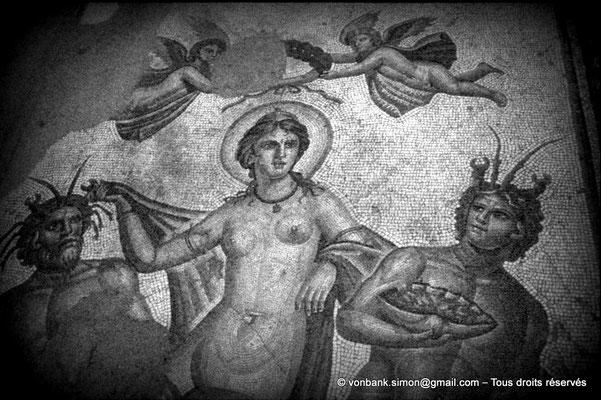 [079-1979-46] Bulla Regia : Détail de la mosaïque représentant le  triomphe d'Amphitrite (Mosaïques de la maison d'Amphitrite (sous-sol))