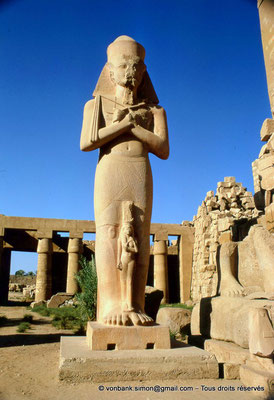 [082-1973-06] Karnak - Grande cour : Statue de Ramsès II usurpée par Pinedjem