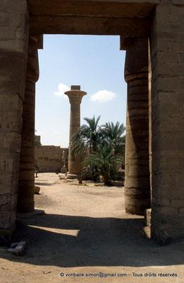[068-1981-14] Karnak - Grande cour : Colonne de Taharqa vue depuis la Porte Nord de la grande cour - En arrière-plan, statue du temple de Ramsès III