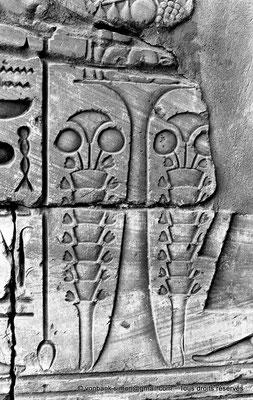 [NB078-1973-06] Karnak - Temple de Khonsou : Détail - Fleurs et table d'offrandes
