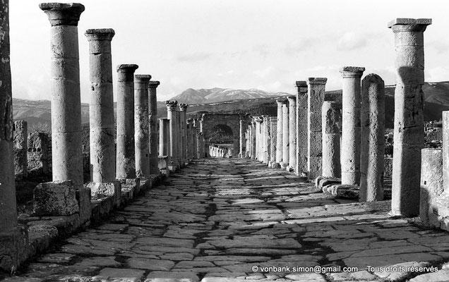 [NB037-1978-23] Djemila (Cuicul) : Grande rue bordée de colonnades - Face Sud de l'arc ouvrant sur le cardo maximus