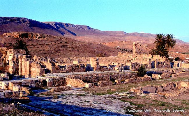 [079-1979-16] Bulla Regia : Esplande A - Vue depuis le temple C sur le bassin central, le bassin planté Nord, le post scenium puis la base des trois exèdres du mur de scène du théâtre