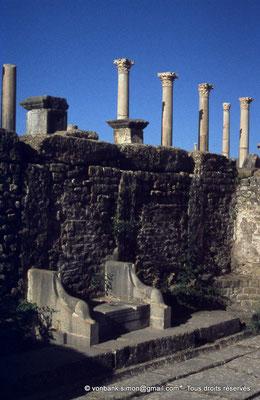[010-1978-08] Timgad (Thamugadi) : Latrines publiques – En arrière-plan, les colonnes du forum
