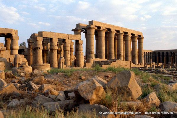 [080-1973-31] Louxor - Temple d'Amon-Rê : Colonnes de la grande cour (Ramsès II), colonnade processionnelle d'accueil puis cour (Aménophis III)