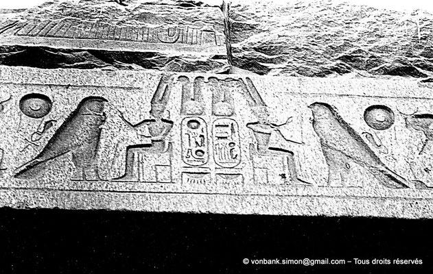 [NB079-1973-07] Louxor - Temple d'Amon-Rê : Détail de l'architrave du triple reposoir (titulature de Ramsès II)