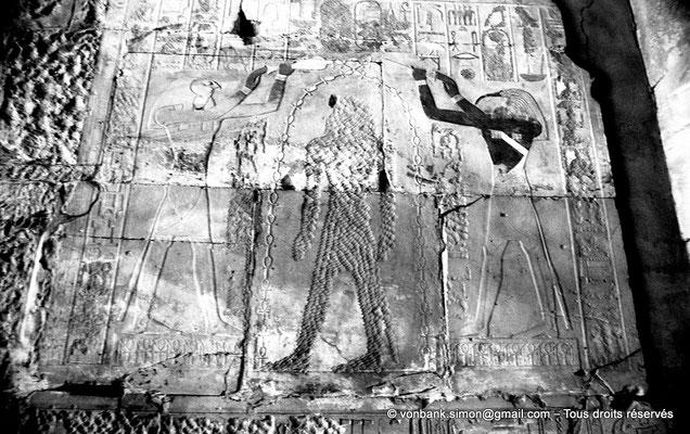 [NB078-1973-50] Karnak - Ipet-Sout : Hatshepsout (martelée) est bénie par Horus et Thot (salle annexe du sanctuaire)