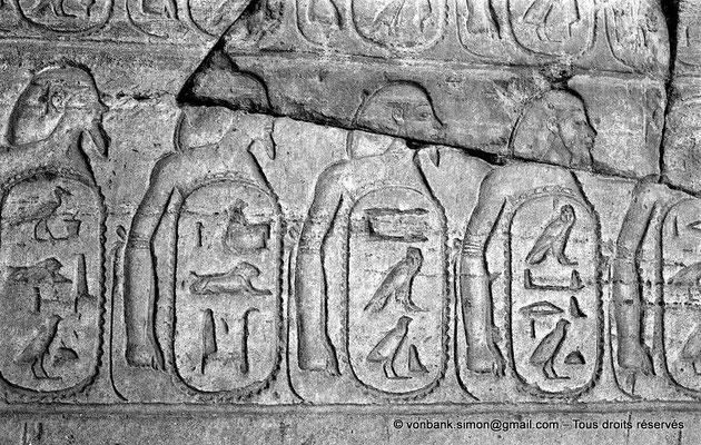 """[NB078-1973-40] Karnak - Ipet-Sout : """"cartouches forteresses"""" qui contiennent les noms des peuples vaincus (Thoutmôsis III)"""