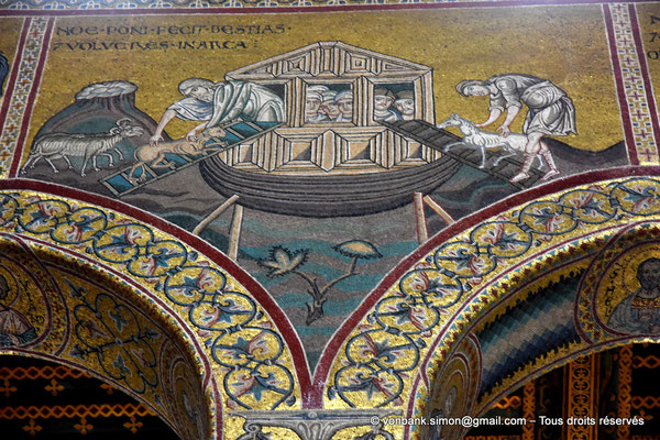 [NU906-2019-1750] Santa Maria Nuova (Monreale) : Noë conduit les animaux dans l'arche (Vie de Noë (Détail de la Grande nef : mur droit))