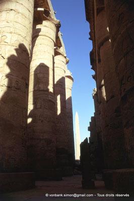 [082-1973-13] Karnak - Salle hypostyle : Allée principale (colonnes à chapiteaux papyriformes ouverts) - En arrière-plan, l'obélisque de Thoutmôsis Ier