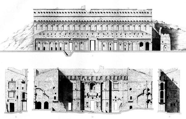 Orange (Arausio) : Elévations et coupes du théâtre d'Orange (1856)