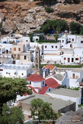 [NU901-2009-0146] Lindos (Rhodes) : dans le village de Lindos, Clocher de l'église dédiée à la Vierge Marie (XIV° siècle)