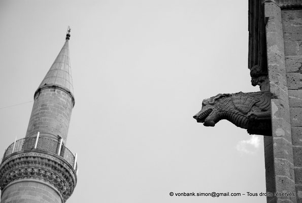 [NU905-2014-0317nb] Nicosie - Agia Sophia : Minaret Sud de la mosquée Selimiye (ex Sainte-Sophie) et Gargouille de la façade Nord de l'ancienne église Saint-Nicolas