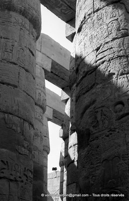 [NB075-1973-74] Karnak - Salle hypostyle : Colonnes (détail)