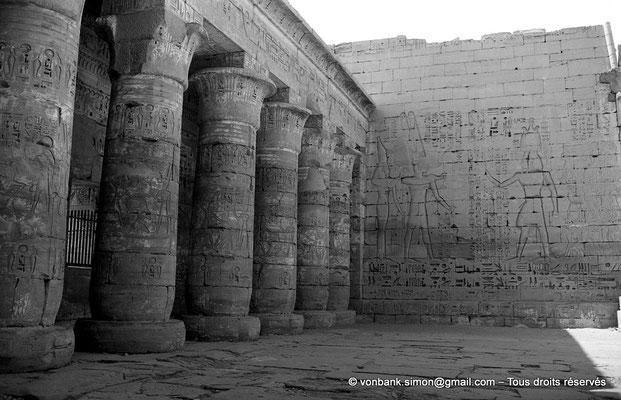 [NB086-1981-53] Medinet Habou : Colonnes papyriformes de la première cour (Temple de Ramsès III)