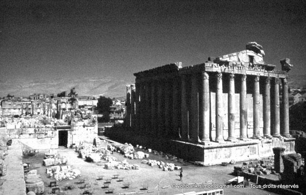 [086-1973-16] Baalbek : Temple de Bacchus - Arrière du temple et sa colonnade du bas côté