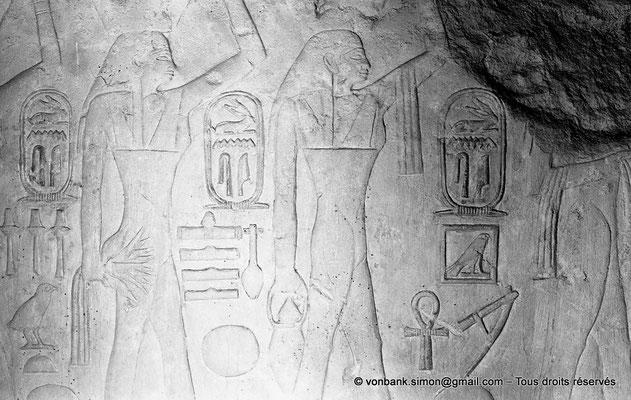 [NB080-1973-31] Saqqara - Mastaba de Mererouka : Noms de domaines précédés des cartouches d'Ounas (Chambre A6, mur Sud)