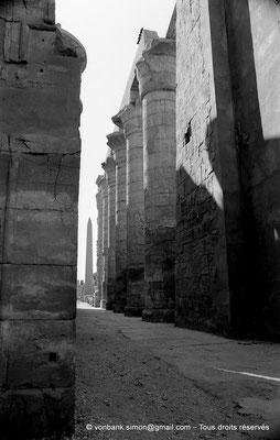 [NB075-1973-18] Karnak - Salle hypostyle : Porte du pylône II donnant sur l'allée principale - En arrière-plan, l'obélisque de Thoutmosis Ier