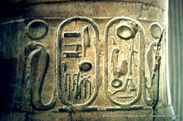 [080-1973-21] Memphis : Statue colossale de Ramsès II (détail : cartouches du Roi)