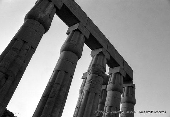[NB079-1973-23] Louxor - Temple d'Amon-Rê : Détail - Colonnes papyriformes fasciculées et cannelées (Aménophis III)