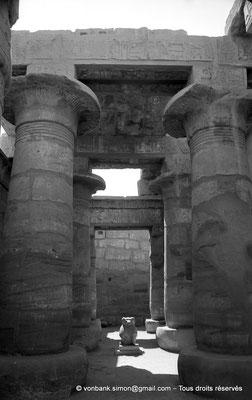 [NB070-1973-74] Karnak - Temple de Khonsou : Nef centrale de la salle hypostyle - Statue d'un babouin représentant le dieu Thot