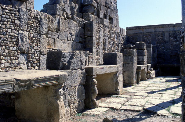 [001-1983-13] Djemila (Cuicul) : Marché de Cosinius - Etals en pierre en contrebas du mur soutenant le forum