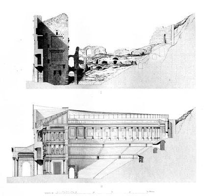 Orange (Arausio) : Coupe longitudinale du théâtre d'Orange supposée dans son état primitif
