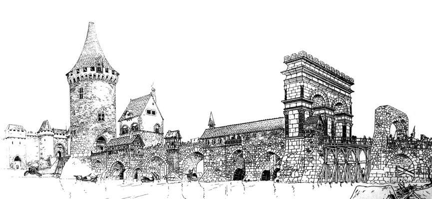 Saintes (Mediolanum Santonum) : L'arc et le pont au XVI° siècle (Dessin de Pierre Samson)