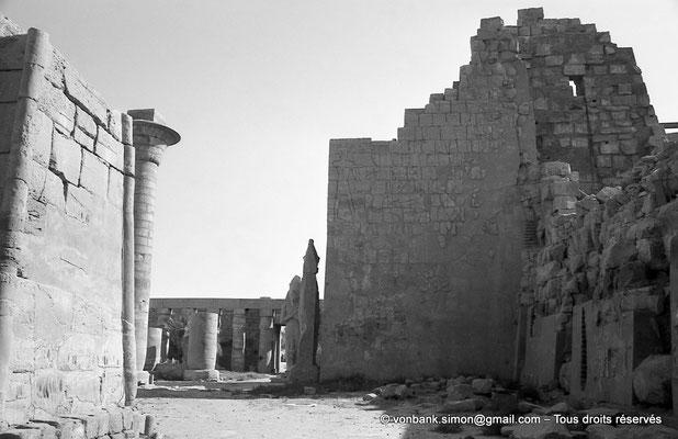 [NB075-1973-10] Karnak - Grande cour : Depuis la Porte Sud des Bubastites, vue sur le môle Sud du deuxième pylône et sur les deux statues de Ramsès II