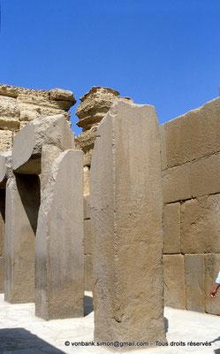[068-1981-10] Gizeh - Khéphren : Colonnes monolithiques en granit du Temple de la vallée