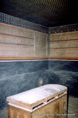 [066-1981-33] KV 35 Amenhotep II : Derrière le sarcophage en quartzite, les 2° et 3° Heures de l'Amdouat