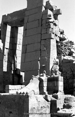 [NB070-1973-34] Karnak - Propylées du Sud : Porte du pylône X (face Sud) - Pied d'une statue colossale du roi debout