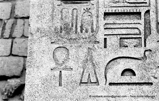 [NB074-1973-58] Louxor - Temple d'Amon-Rê : Hiéroglyphes (partie basse de l'obélisque)