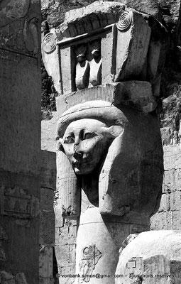 [NB086-1981-31] Deir el-Bahari : Temple d'Hatchepsout - Partie supérieure d'un pilier hathorique (chapelle d'Hathor)
