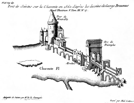 Saintes (Mediolanum Santonum) : L'arc et le pont au XVI° siècle (Dessin de George Braunius)
