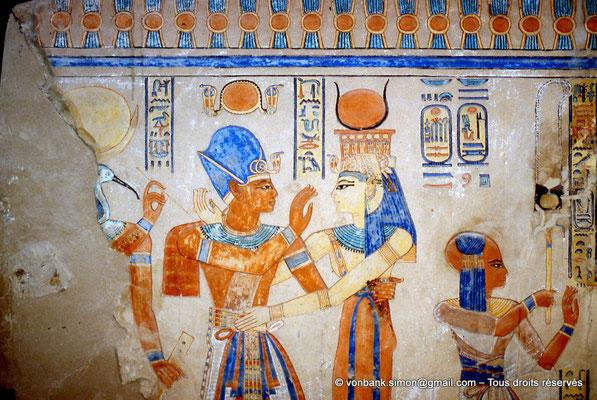 [064-1981-12] QV 55 Amonherkhépshef : Thot (on ne voit qu'une partie de sa tête) - Ramsès III - Isis - Amonherkhépshef