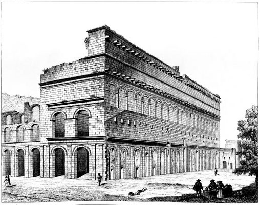 Orange (Arausio) : Vue du théâtre d'Orange (1856)