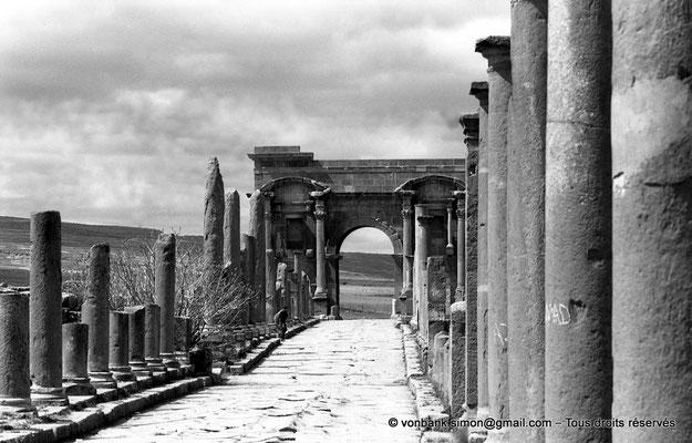 [NB035-1978-24] Timgad (Thamugadi) : Decumanus maximus, en direction de Lambaesis - Arc de Trajan