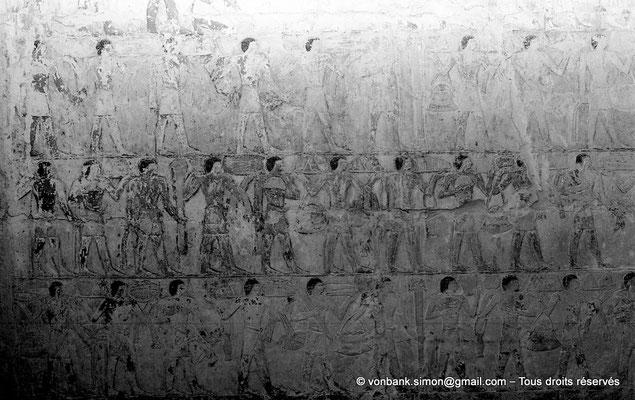 [NB085-1981-09] Saqqara - Mastaba de Watetkhethor : Porteurs d'offrandes transportant des denrées alimentaires les plus diverses (Chambre B5, mur Ouest)