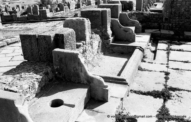 [NB047-1978-14] Timgad (Thamugadi) : Latrines publiques et fontaine – En arrière-plan, le Decumanus