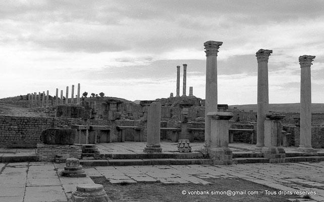 [NB046-1978-11] Timgad (Thamugadi) : Marché de Sertius - Au fond de l'hémicycle, sept boutiques - En arrière-plan, le capitole
