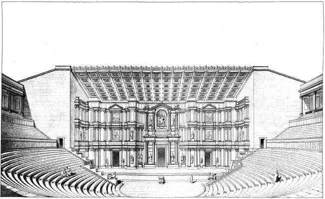 Orange (Arausio) : Vue de la scène du théâtre d'Orange supposée dans son état primitif