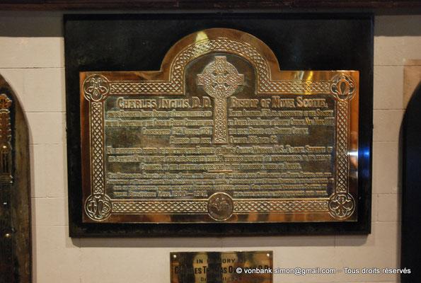 [NU002p-2016-0142] Dublin - Cathédrale Saint-Patrick : Plaque commémorative de Charles Ingliss (1734-1816), évêque de la Nouvelle Écosse (Canada)