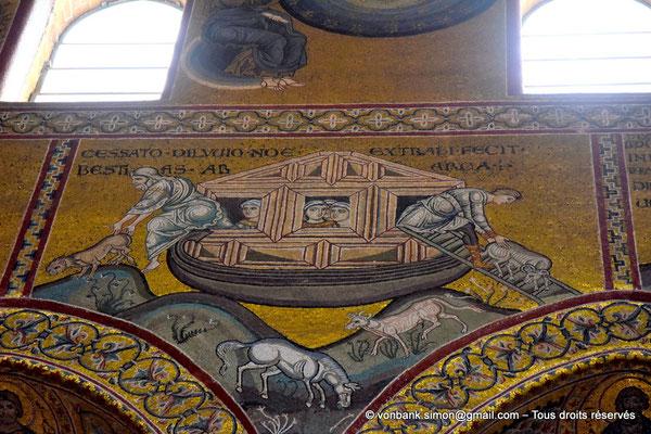 [NU906-2019-1747] Santa Maria Nuova (Monreale) : Le déluge ayant cessé, Noë fait sortir les animaux de l'arche (Vie de Noë (Détail de la Grande nef : mur droit))