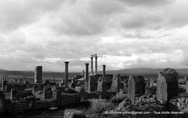 [NB026-1978-49] Timgad (Thamugadi) : Temple du Génie de le Colonie vu depuis les maisons du quartier Nord-Ouest de l'ancienne ville