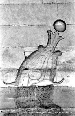 [NB076-1973-09] Philae : Temple d'Isis - Coiffe d'un Dieu (Détail de la façade du Pylône 2)