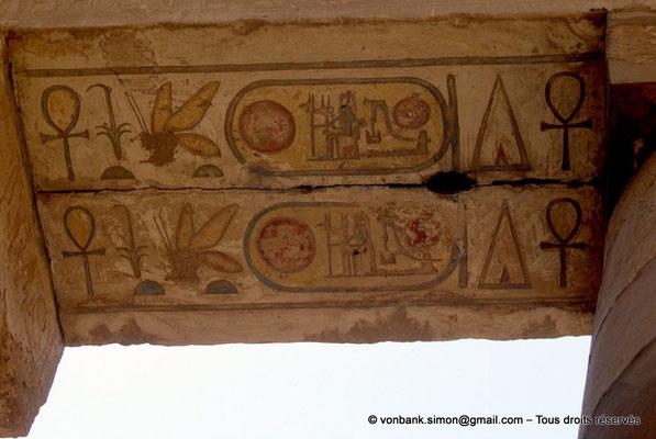 [068-1981-16] Karnak - Salle hypostyle : Architrave - Soffite sur lequel est inscrit le nom de Ramsès II